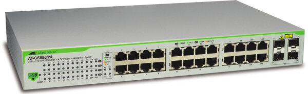 Allied Telesis AT GS950/24 WebSmart Switch - Switch - managed - 24 x 10/100/1000 + 2 x GBIC - Desktop